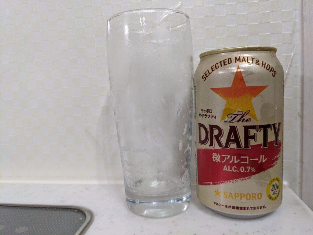 サッポロザ・ドラフティと飲み終わったグラス